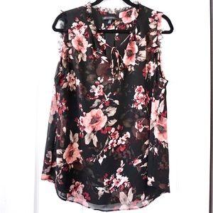 White House Black Market Sleeveless Floral Blouse
